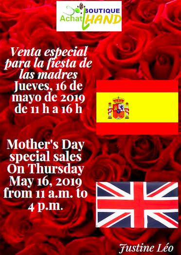 Sur un fond de rose rouge, drapeaux anglais et espagnol, annonce de la vente pour la fête des mères