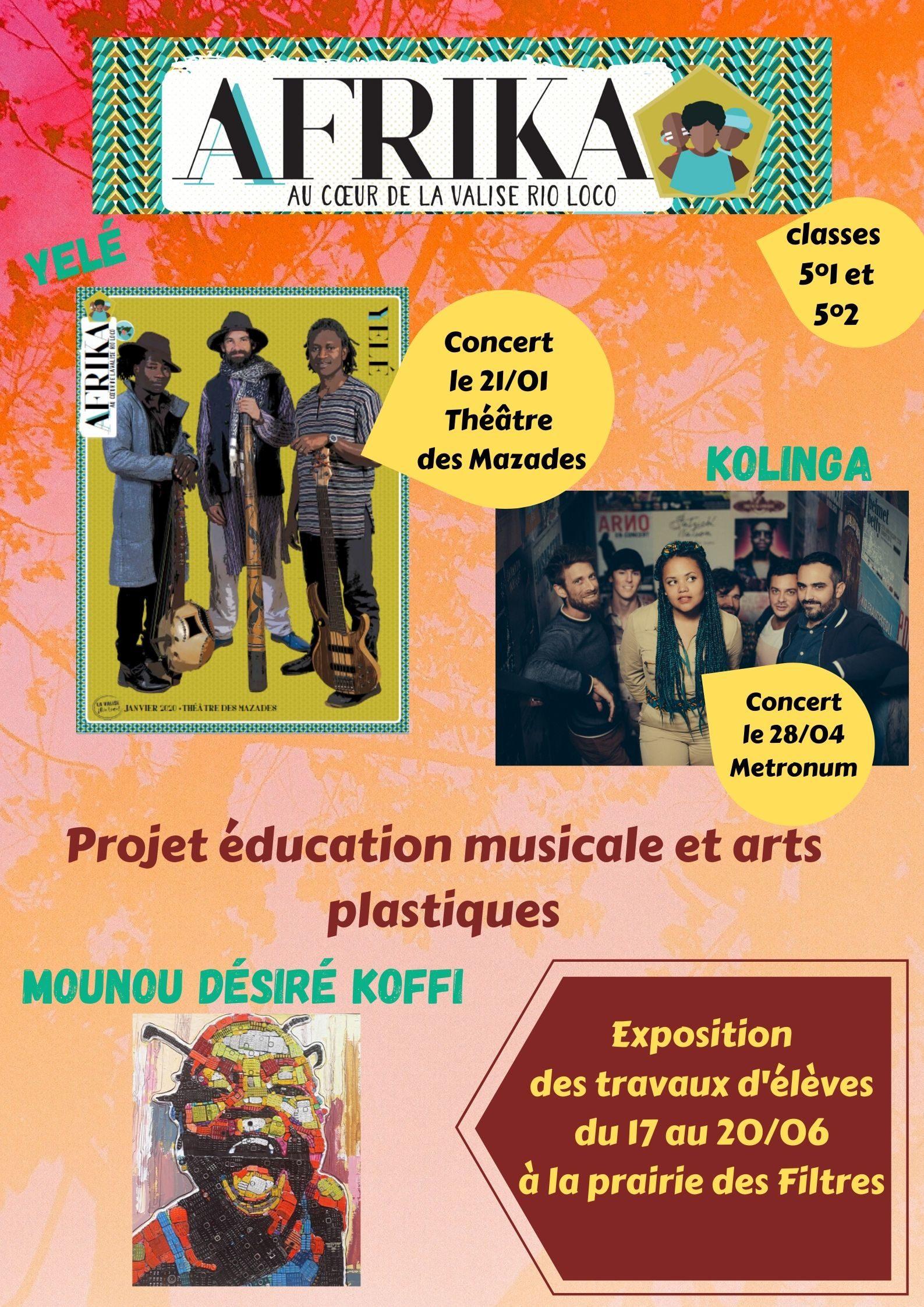 projet éducation musicale et arts plastiques pour l'année 2919-2020