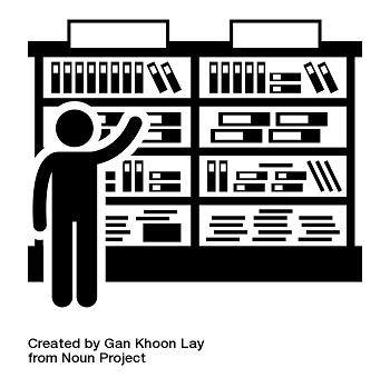 Icône représentant un personnage prenant un livre sur des étagères