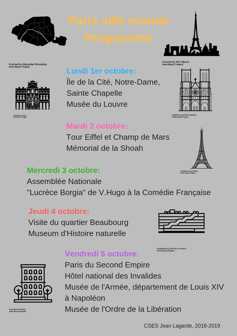 Programme des visites de Paris pour les Terminales, version mise à jour